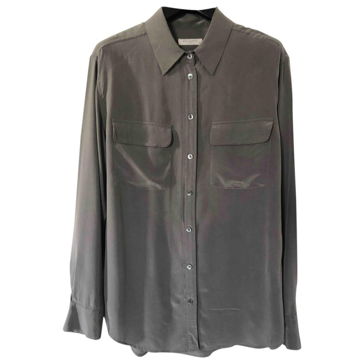 Equipment - Top   pour femme en soie - gris
