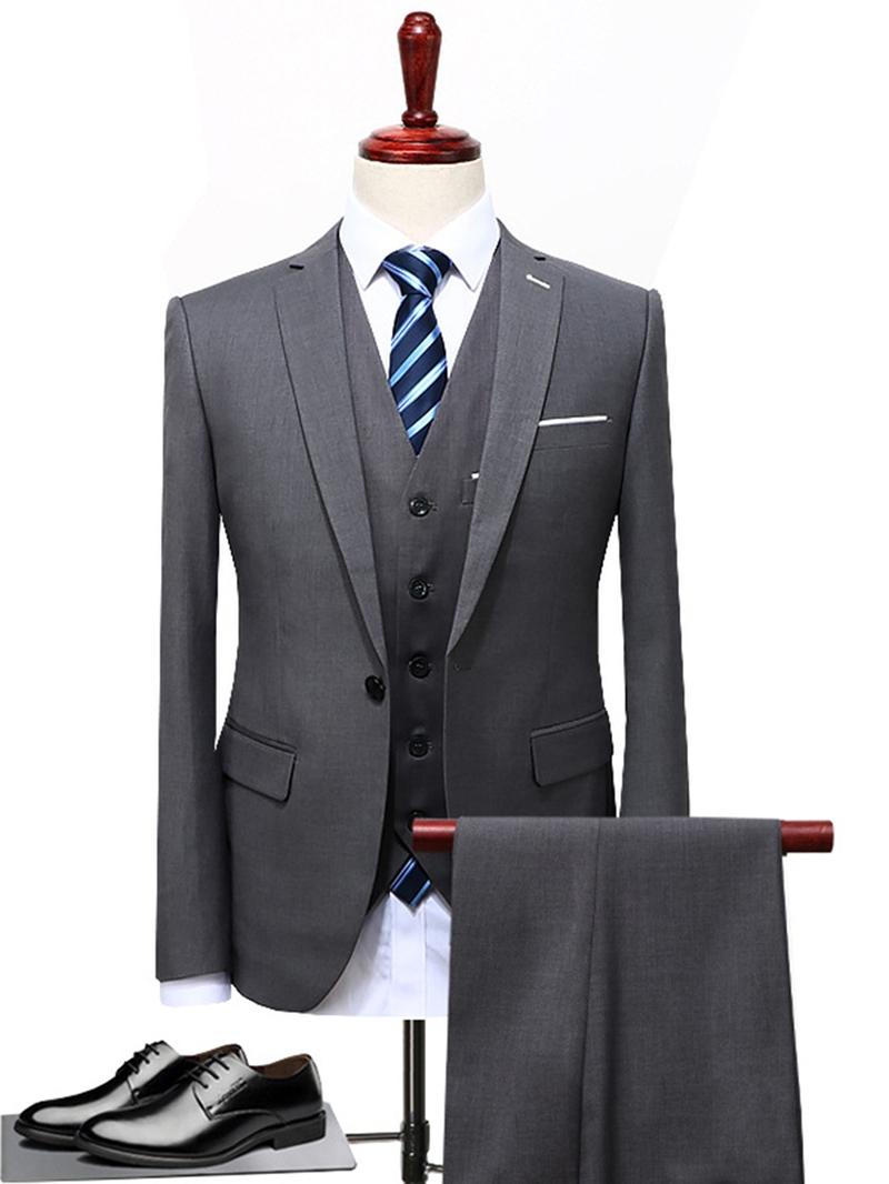 Ericdress Plain Classic Men's 3 Piece Business Suit Blazer Pants Vest