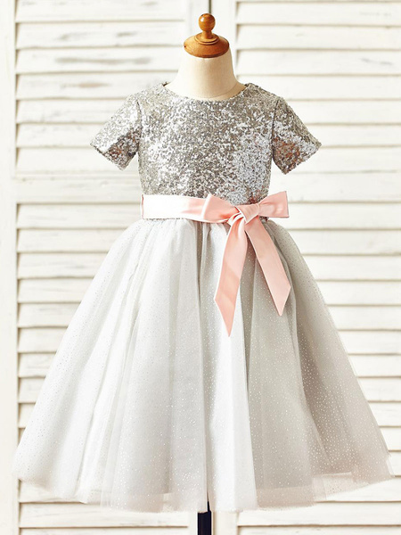 Milanoo Vestidos de niña de las flores Cuello de joya Mangas cortas Faja Vestidos de fiesta para niños