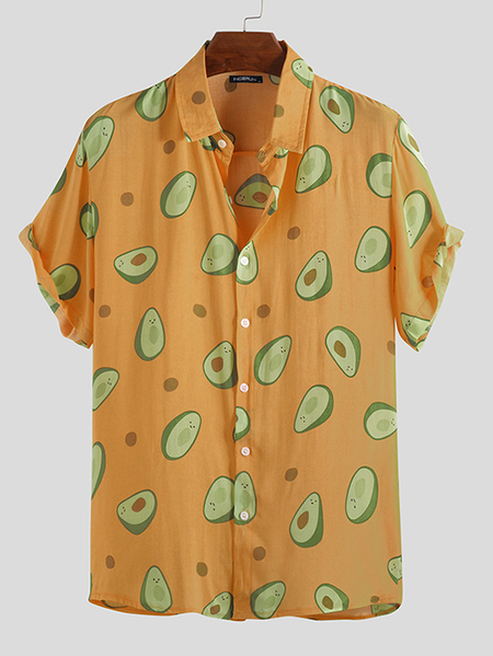 Yoins INCERUN Men Avocado Print Short Sleeve Shirt