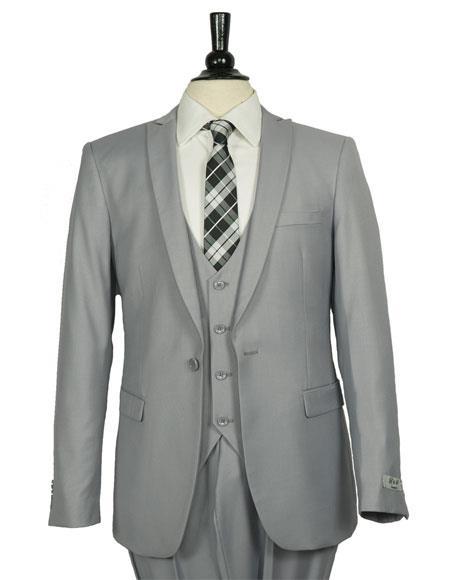 Men's Peak Lapel 1 Button Slim Fit Gray Vested Suit