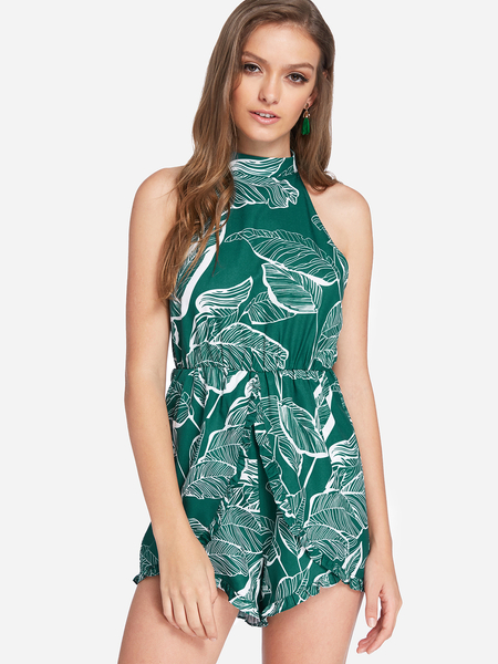 Yoins Green Cut Out Random Leaf Print Halter Sleeveless Playsuits