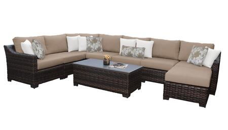 RIVER-09d-WHEAT Kathy Ireland Homes and Gardens River Brook 9-Piece Wicker Patio Set 09d - 1 Set of Truffle and 1 Set of Toffee