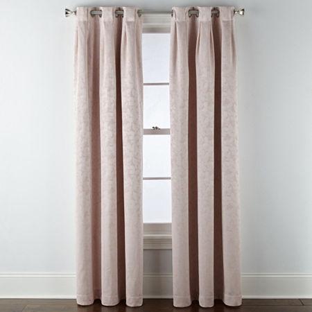 Liz Claiborne Zoe Leaf Bo Blackout Grommet-Top Single Curtain Panel, One Size , Pink