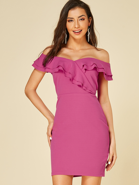 YOINS Rose Ruffle Trim Off The Shoulder Dress
