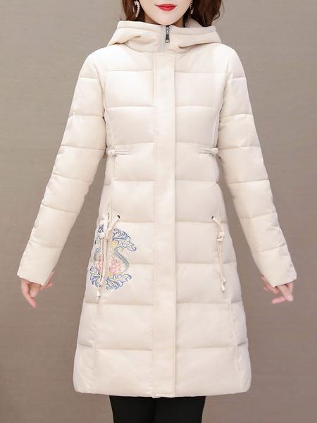 Milanoo Women\\'s Puffer Coats Red Long Hooded Zipper Long Sleeves Animal Print Classic Padded Winter Coat Outerwear