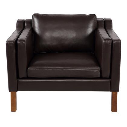 MONROE1-PAL-BRN-WL Monroe Mid-Century Modern Vintage Chair  Brown Aniline