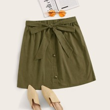 Plus Solid Button Front Belted Skirt