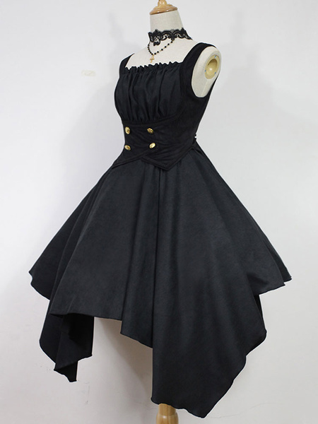 Milanoo Gothic Lolita Dress JSK Dead Ghost Melody Asymmetrical Lolita Jumper Skirt Original Design