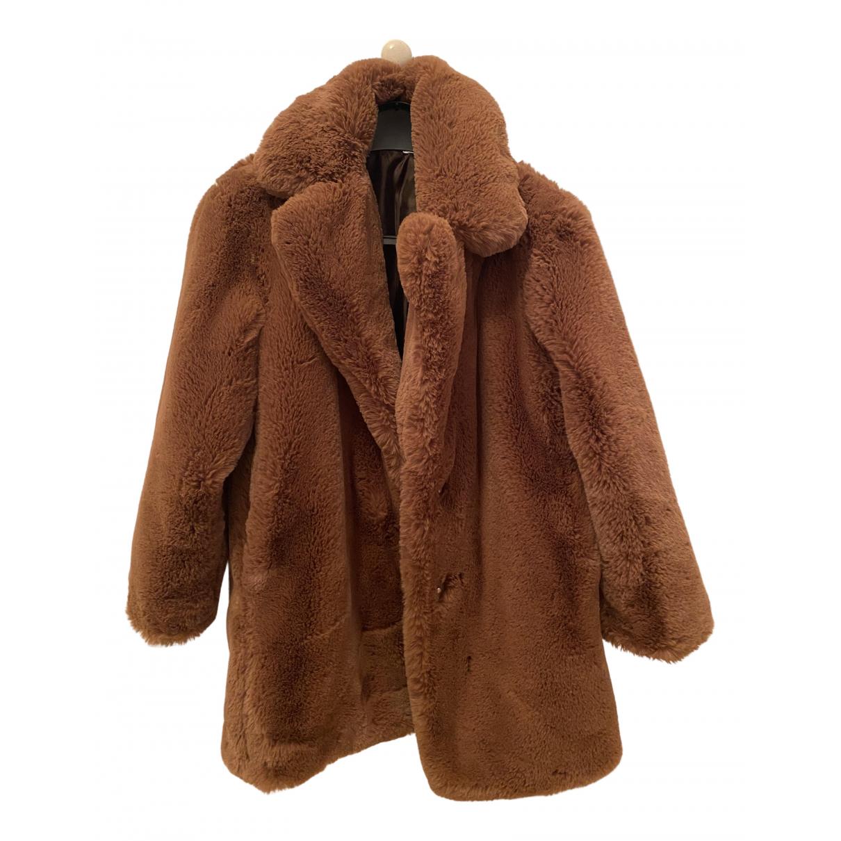 Mango - Manteau   pour femme en fourrure synthetique - marron