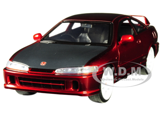 1995 Honda Integra Type-R Japan Spec RHD (Right Hand Drive) Candy Red with Carbon Hood and White Wheels JDM Tuners 1/24 Diecast Model Car by Jada