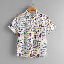 Boys Allover Letter and Cartoon Graphic Shirt