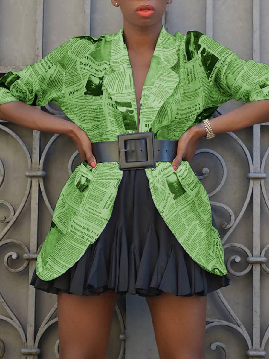 LW Lovely Street Turndown Collar Print Green Coat