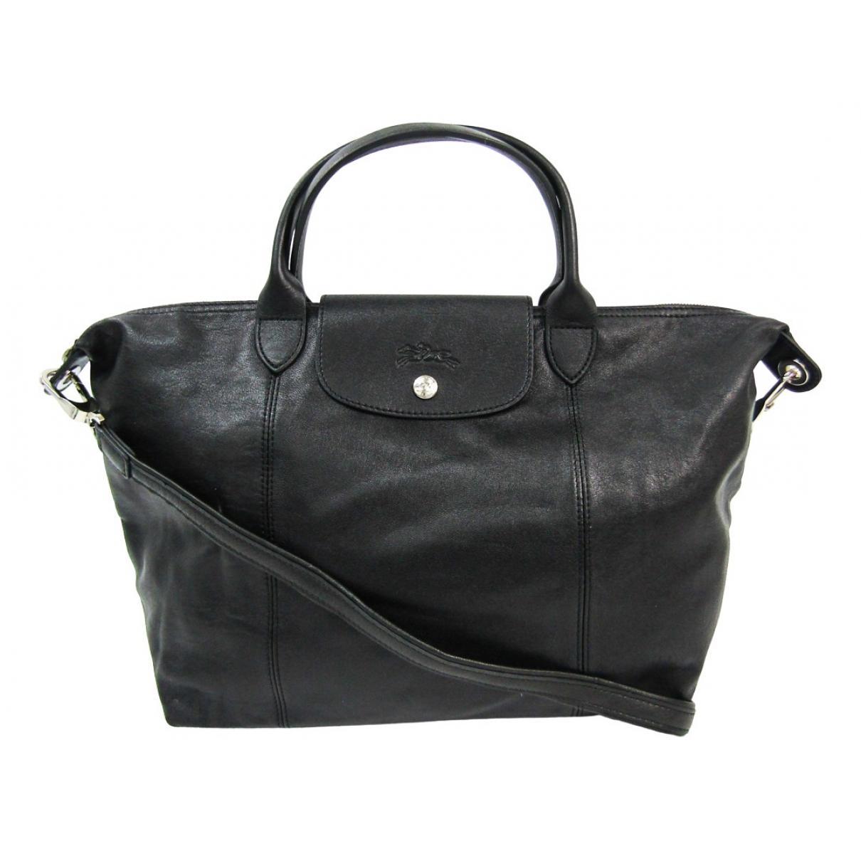 Longchamp Pliage  Black Leather handbag for Women \N
