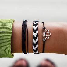 3pcs Lotus Decor Braided String Bracelet