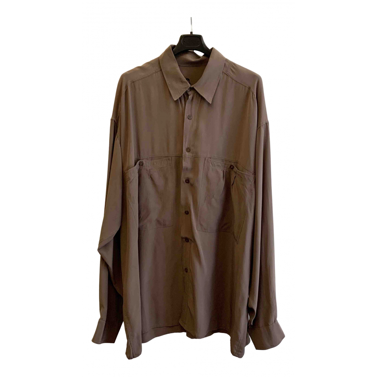 Non Signé / Unsigned Oversize Grey Silk Shirts for Men XL International