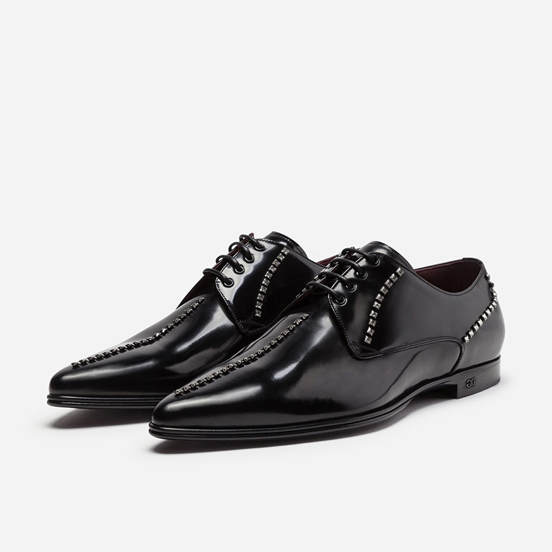 Ericdress Rivet Pointed Toe Lace-Up Block Heel Men's Dress Shoes
