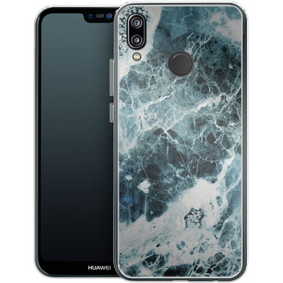 Huawei P20 Lite Silikon Handyhuelle - Blue Sea Marble von Emanuela Carratoni