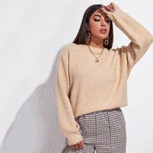 Drop Shoulder Solid Oversized Sweater