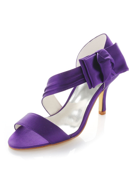 Milanoo Purple Bow Open Toe Silk And Satin Grace Womans Evening Shoes