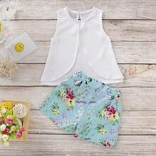 Kleinkind Maedchen Tank Top und Shorts mit Blumen Muster