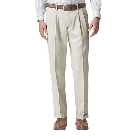 Dockers Men's Relaxed Fit Comfort Khaki Cuffed Pants - Pleated D4, 44 32, Brown