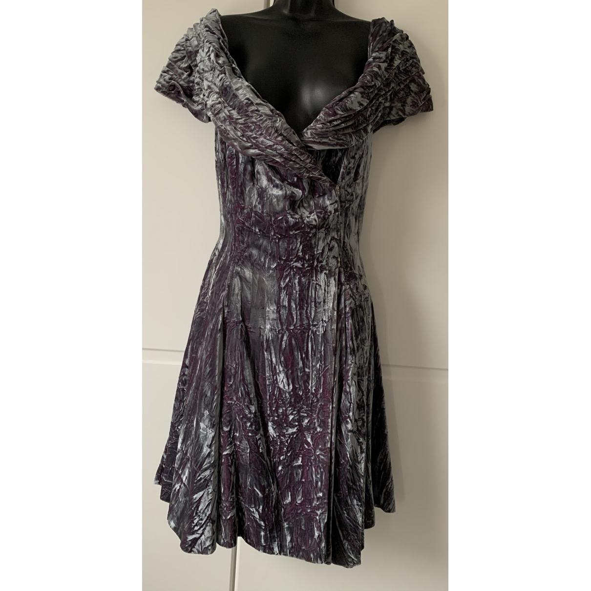 - Robe   pour femme en velours - gris