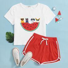 Girls Animals & Watermelon Graphic Tee & Shorts Set