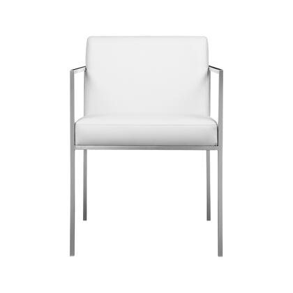 Capo Collection ER-1093-18 Armchair with Brushed Stainless Steel Frame and Legs in White