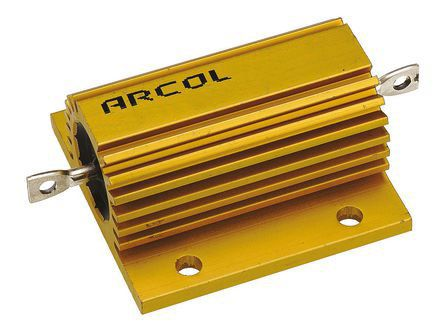 Arcol HS75 Series Aluminium Housed Axial Wire Wound Panel Mount Resistor, 1Ω ±5% 75W