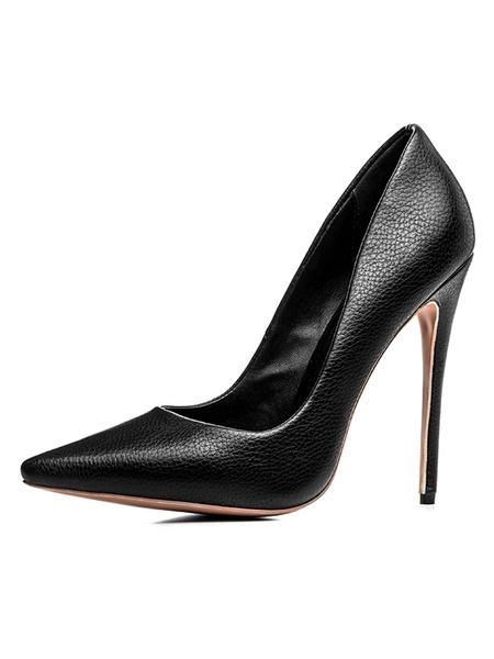 Milanoo Black High Heels Women Slip On Pumps Pointed Toe Heeled Shoes