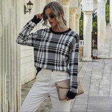 Plaid Pattern Drop Shoulder Sweater