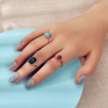 3 piezas anillo con diseño de piedra