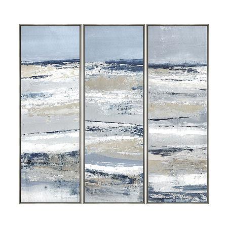 Boston Warehouse 16.75x48.75 Rolling Waves Set3 Canvas Art, One Size , Blue