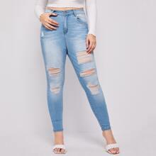 Jeans mit hoher Taille, hoher Dehnung und Riss