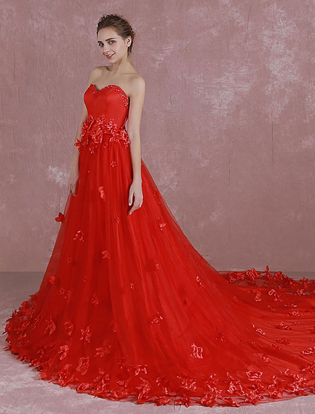 Milanoo Red Wedding Dress Sweetheart Strapless Sequin Bridal Dress 3D Flowers Applique A Line Cathedral Train Evening Dress