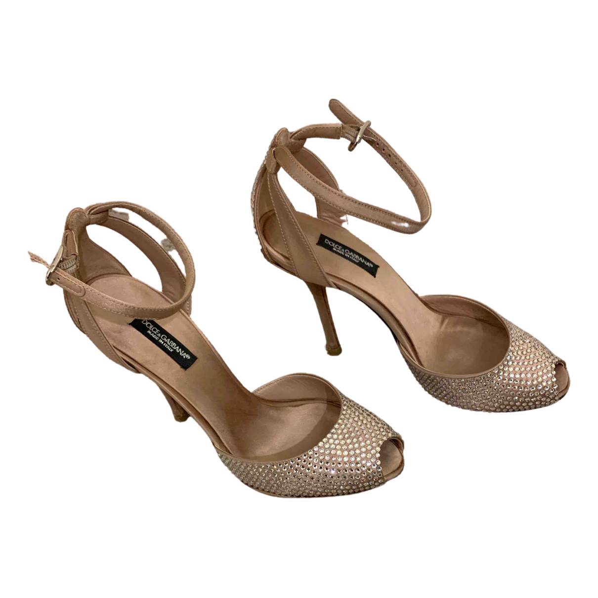 Dolce & Gabbana N Beige Glitter Heels for Women 36 EU