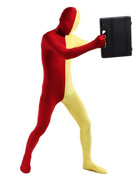 Milanoo Morph Suit Red and Yellow Lycra Spandex Zentai Suit Unisex Full Body Suit