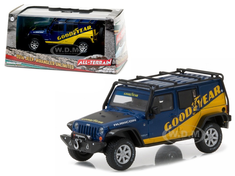 2016 Jeep Wrangler Unlimited Good Year with Roof Rack Fender Flares and Winch With Display Showcase 1/43 Diecast Model Car by Greenlight