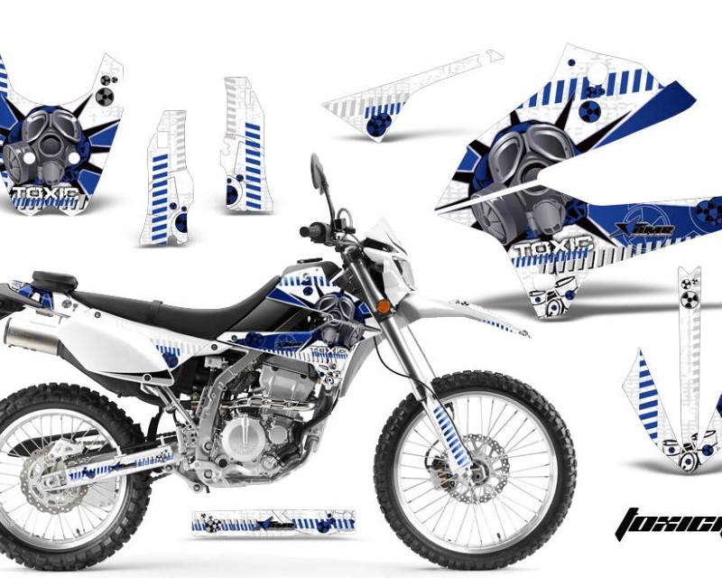 AMR Racing Dirt Bike Decals Graphics Kit Sticker Wrap For Kawasaki KLX250 2008-2018áTOXIC BLUE WHITE