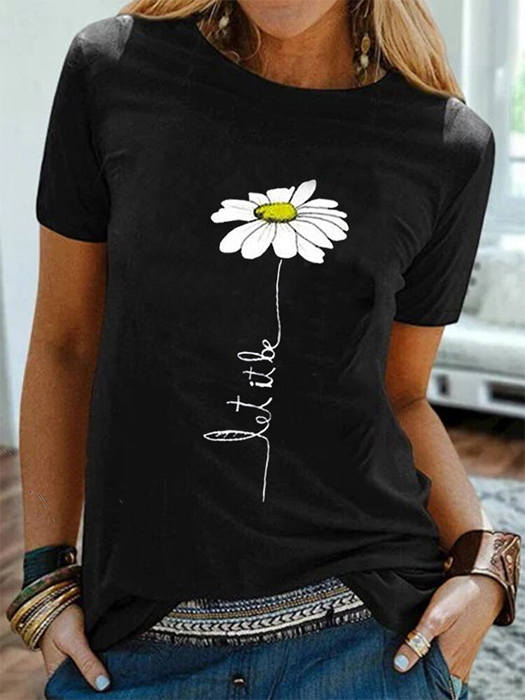 Simple Flower Print Short Sleeve Casual T-shirt