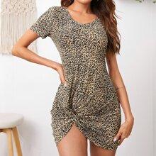 Kleid mit Twist vorn und Leopard Muster