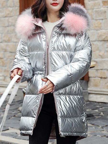 Milanoo Abrigos acolchados de mujer Bolsillos azules Cremallera con capucha Manga larga Abrigo de invierno acolchado