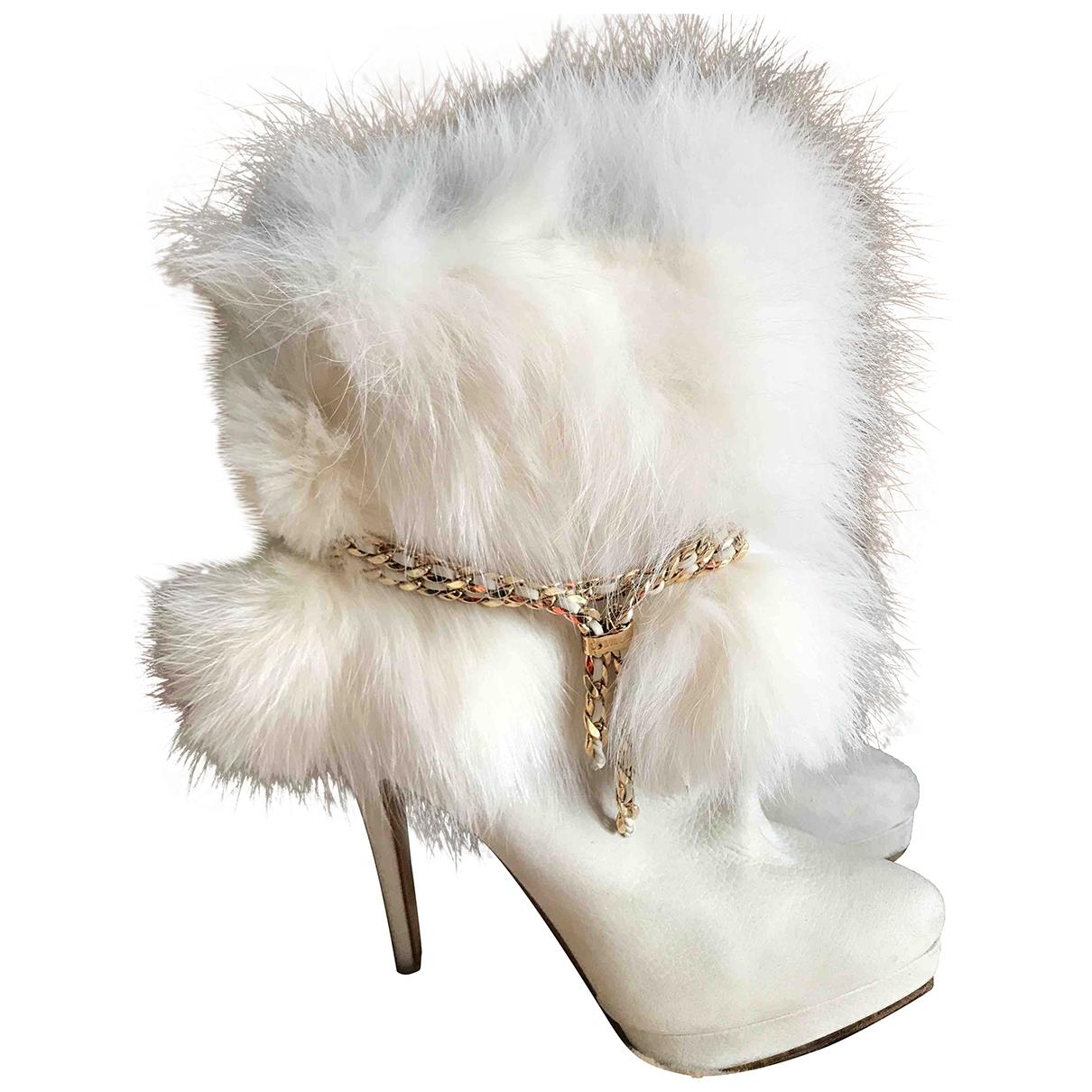 Le Silla \N White Fox Ankle boots for Women 36 EU