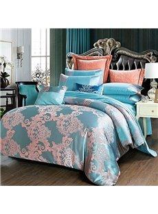 Lake Blue Palace Satin Jacquard Silky Soft Cotton 4-Piece Bedding Sets/Duvet Cover