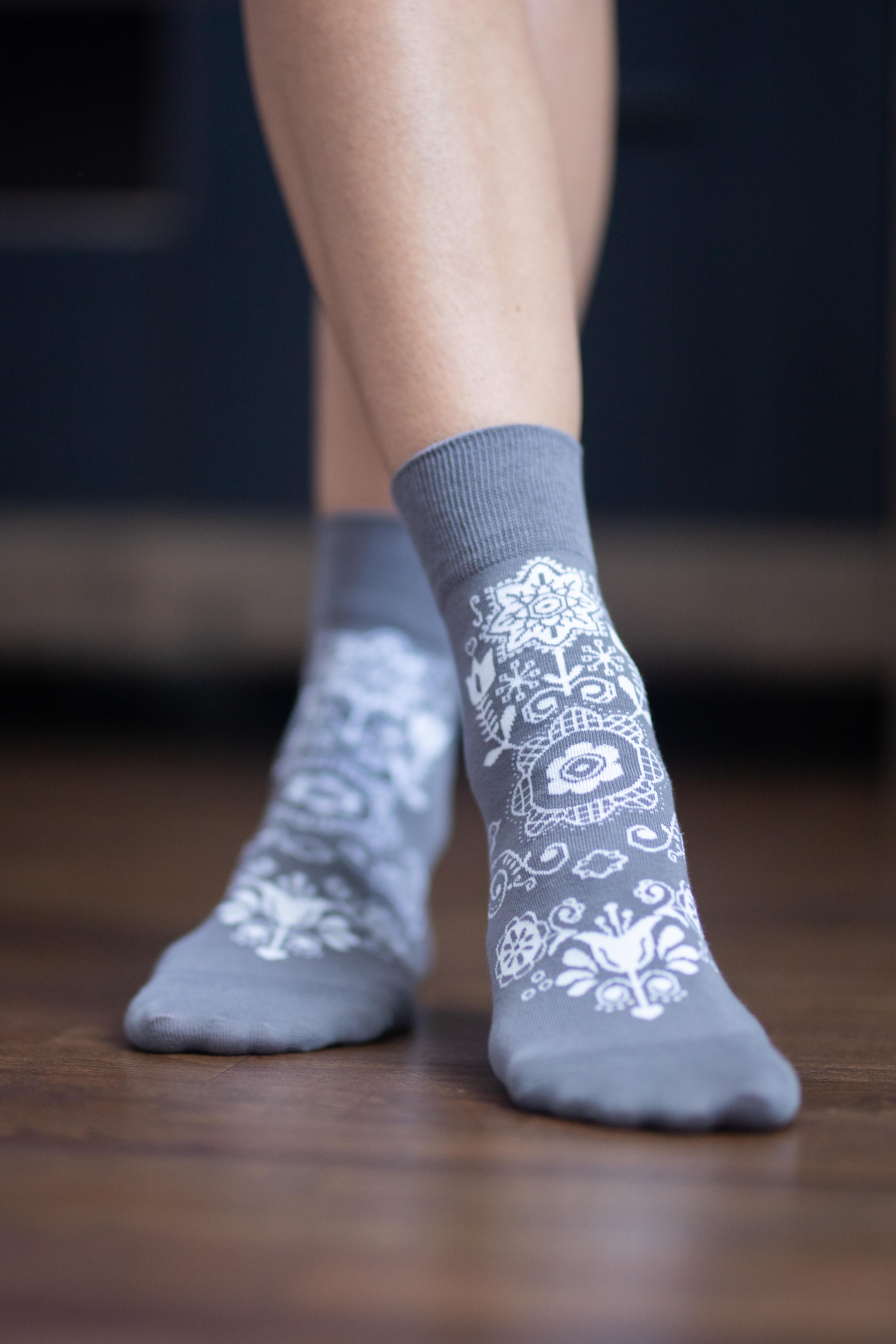 Barfuss-Socken Folk - Grau 39-42