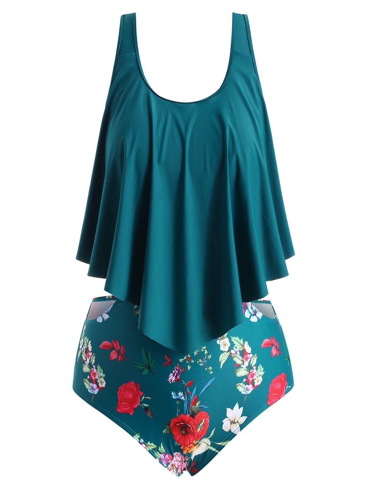 Plus Size Floral Cutout Flounce Tankini Set