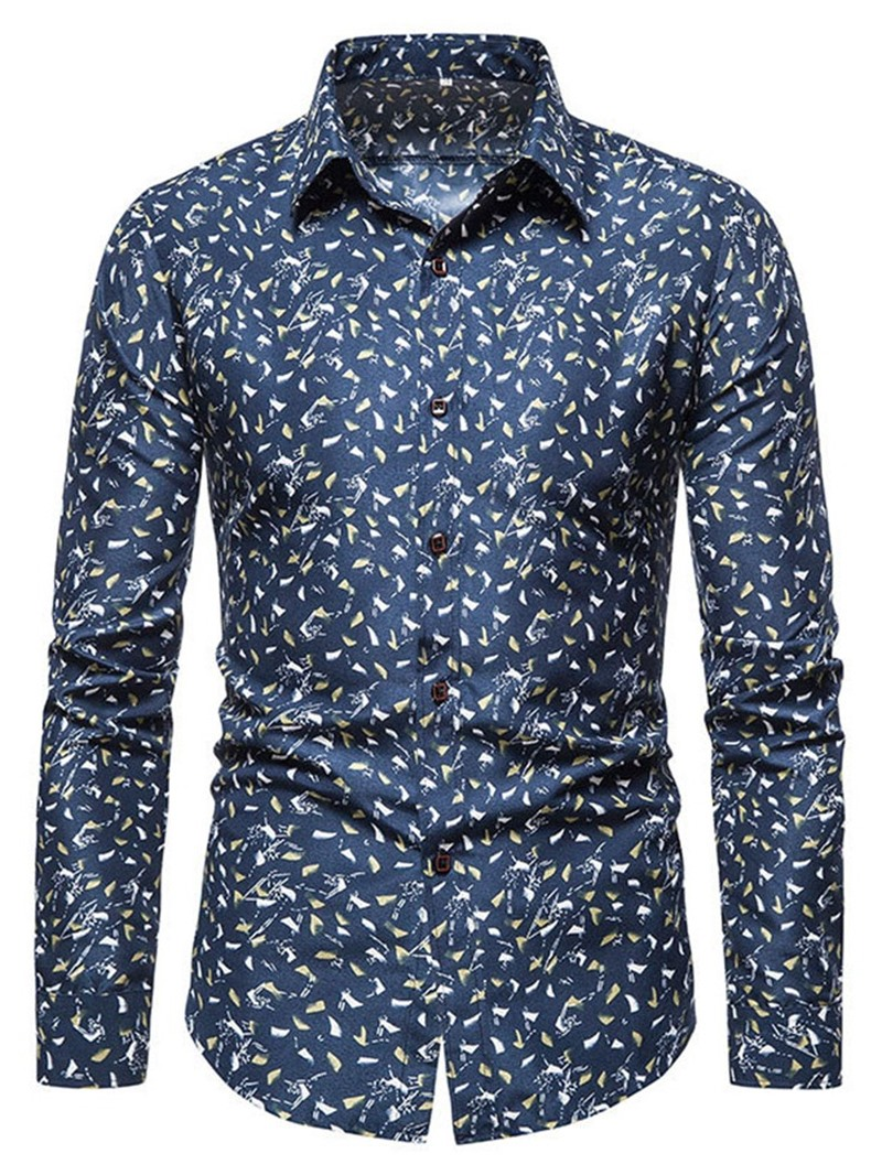 Ericdress Floral Lapel Casual Slim Single-Breasted Shirt