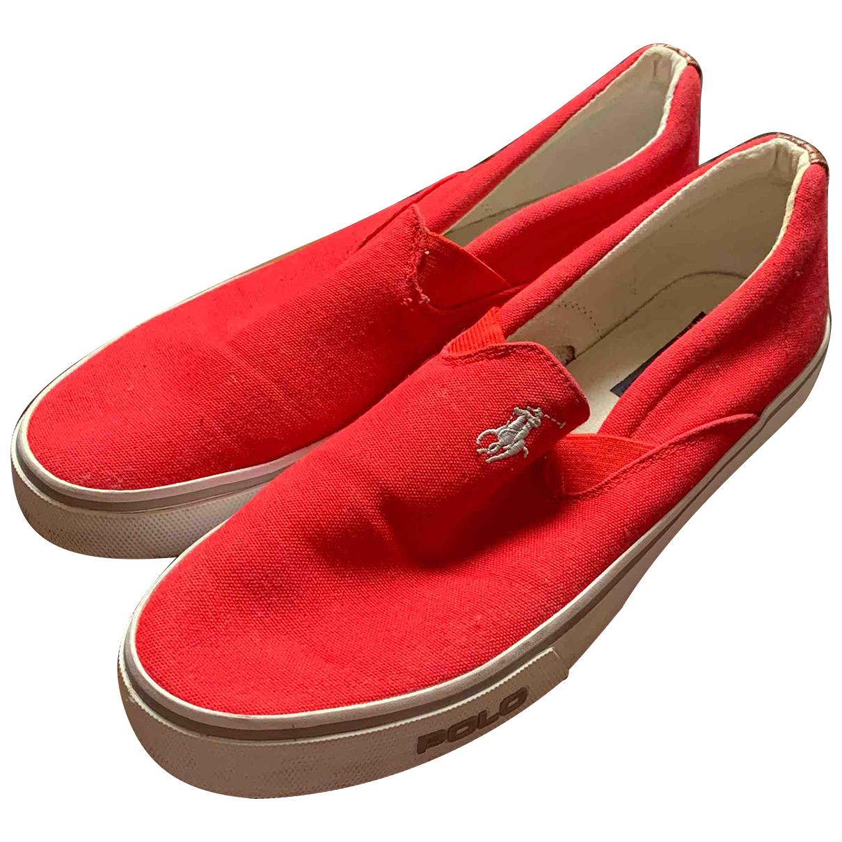 Polo Ralph Lauren - Baskets   pour homme en toile - rouge