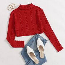 Turtleneck Cable Knit Crop Tee